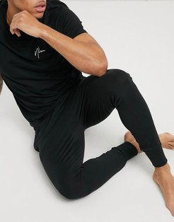 sweatpants lounge set with NLM embroidery in black