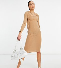 ribbed dress and cardigan set in camel-Tan