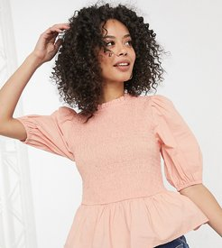 shirred body puff sleeve top in pink