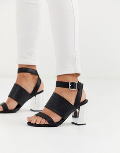 thick strap detail low metallic block heel in black