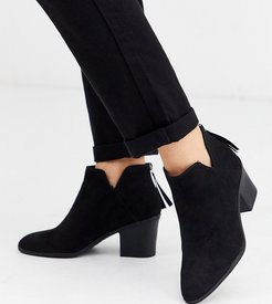 low cut heeled ankle boots in black