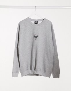 embroidered ostrich ash oversized sweatshirt gray