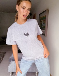 embroidered puppy t-shirt in oversized fit-Grey
