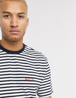 oversized stripe t-shirt in navy & white