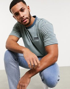 Riva stripe t-shirt with small logo in blue