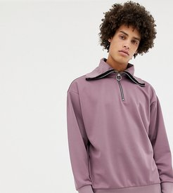 half-zip funnel neck sweatshirt in lilac-Purple