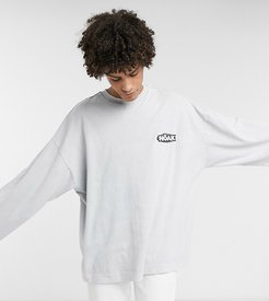 long sleeve t-shirt with rubber logo with wash-Grey