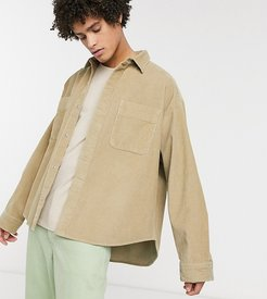 oversized chunky cord shirt in stone-Brown