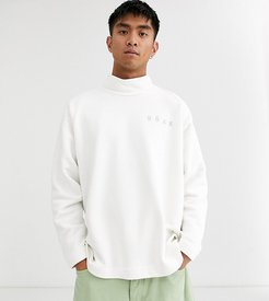 sweatshirt with high neck and logo-White