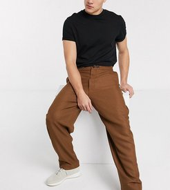 wide leg pants in camel-Brown