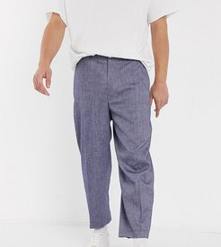 wide leg smart pants in denim-Navy