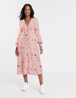 button front midi dress in star print-Pink