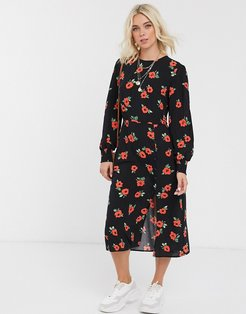 midaxi dress with button detail in rose print-Multi