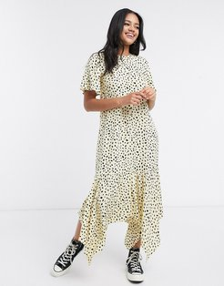 midi dress with frill hem in scattered polka dot-Yellow