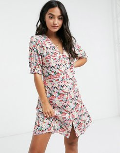 mini dress with buttons in clustered flower print-Multi