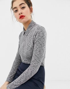 zip front body with collar-Grey