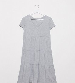 tiered smock dress in gray