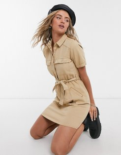 shirt dress with belted waist in camel-Neutral
