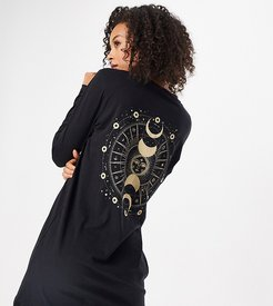 exclusive oversized mini t-shirt dress with cosmic motif in black