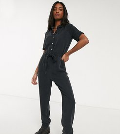 utility tie front jumpsuit in black
