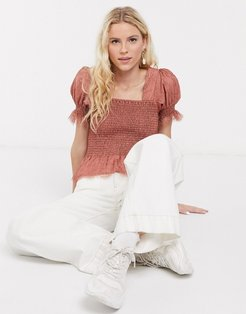ombre shirred top in pink