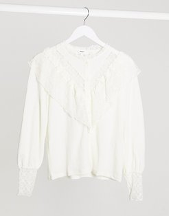 frill detail shirt in white