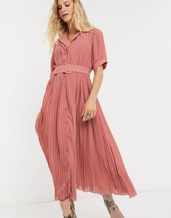 pleated midi dress with self belt and puff sleeve in pink-Multi