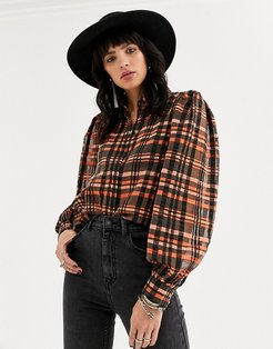 puff sleeve mesh shirt in check print-Multi