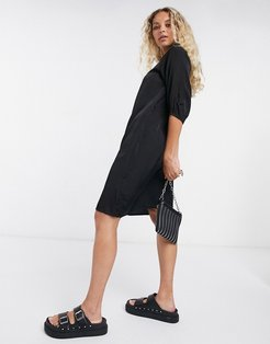 shirt dress with collar detail in black