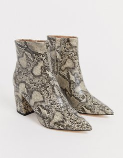 aloud pointed block heel ankle boots in snake-Multi