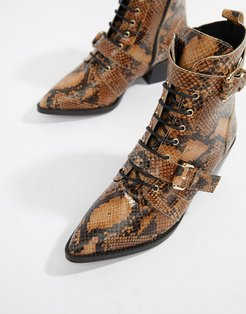 Ambassador leather snake lace up two buckle ankle boot-Multi