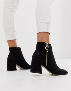 Anthea suedette mid heeled ankle boots with side zip detail-Black