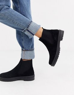 Archie black suede flat chelsea ankle boots