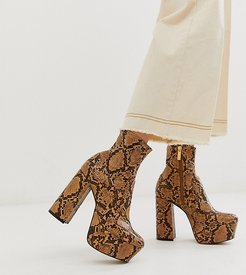 exclusive Another Level brown snake platform heeled ankle boots-Multi
