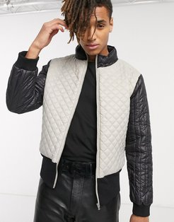 funnel neck quilted jacket in gray