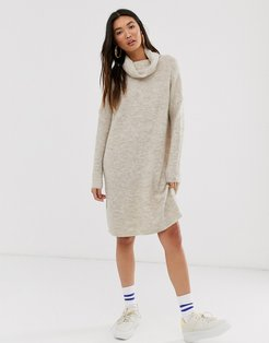 brushed knitted longline roll neck mini dress-Beige