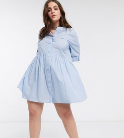 chambray smock dress in blue