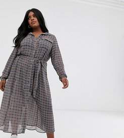 chiffon shirt midi dress with tie waist in check print-Multi
