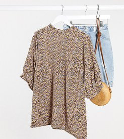 high neck blouse in floral print-Multi