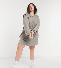 jersey mini dress with strong shoulder in gray-Multi