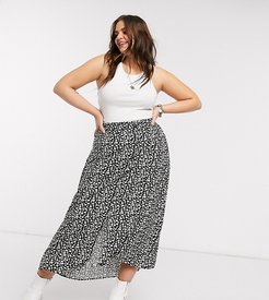 maxi skirt with front split in black daisy print-Multi