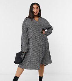 mini dress in houndstooth-Multi