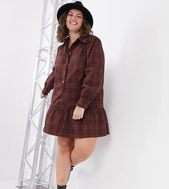 shirt dress in check print-Multi