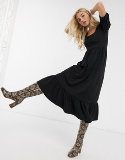 midi dress with puff sleeves in black