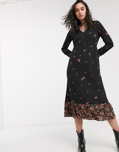 midi dress with v neck in mixed black floral-Multi