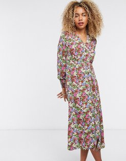midi tea dress with button front in pink floral-Multi