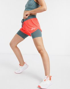Sul loose training shorts in fiery coral and goblin blue-Orange