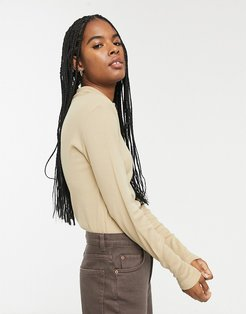 ribbed roll neck top in tan