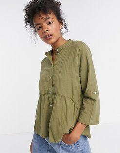 smock blouse with button front in khaki-Green