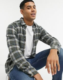brushed check shirt in green